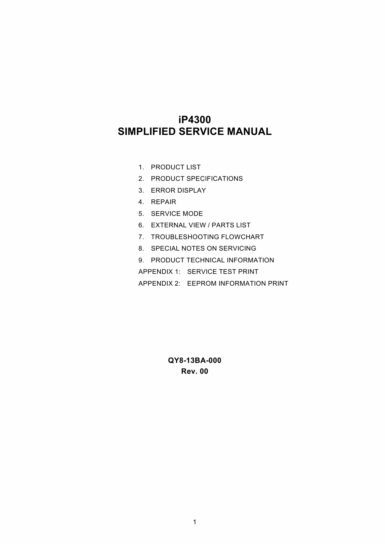 Canon PIXMA iP4300 Parts and Service Manual-1